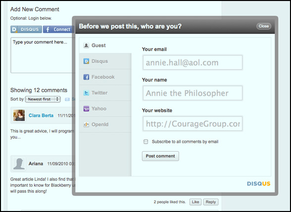 log in with website for commenting on disqus screenshot