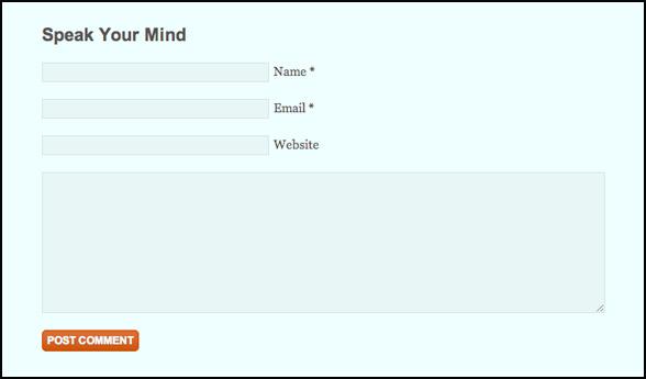 screenshot of default comment box on studiopress genesis