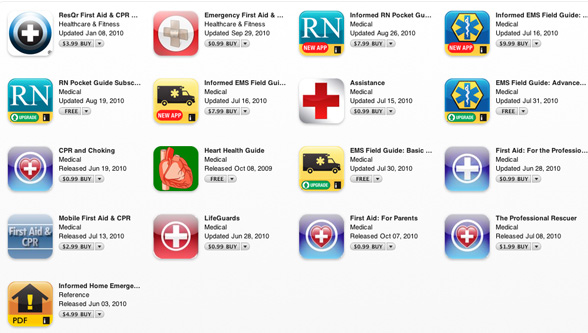 screen shot of iPhone apps that include cpr - first aid readiness