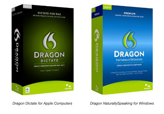 dragon dictate and naturally speaking shown together