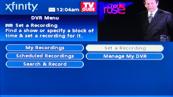 my dvr menu - set a recording