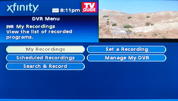 dvr menu comcast cable tv motorola remote
