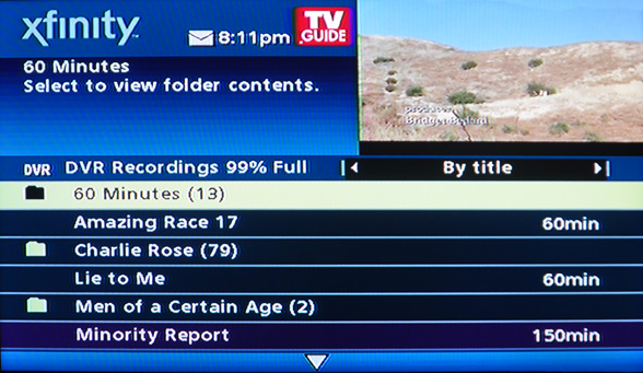 comcast dvr list of recordings