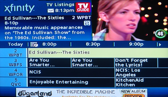 comcast guide select show to record tv screen shot