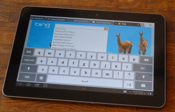 The virtual keyboard on the Samsung Galaxy Tab 10.1