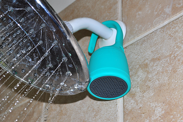 Boom Swimmer speaker in Shower.  Photo by Ray Gordon