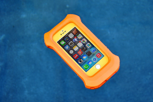 The LifeProof Lifejacket floating in pool