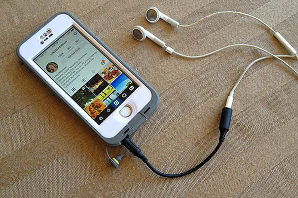 LifeProof Nuud case with headphone adapter and standard iPhone headphones photo by Ray Gordon