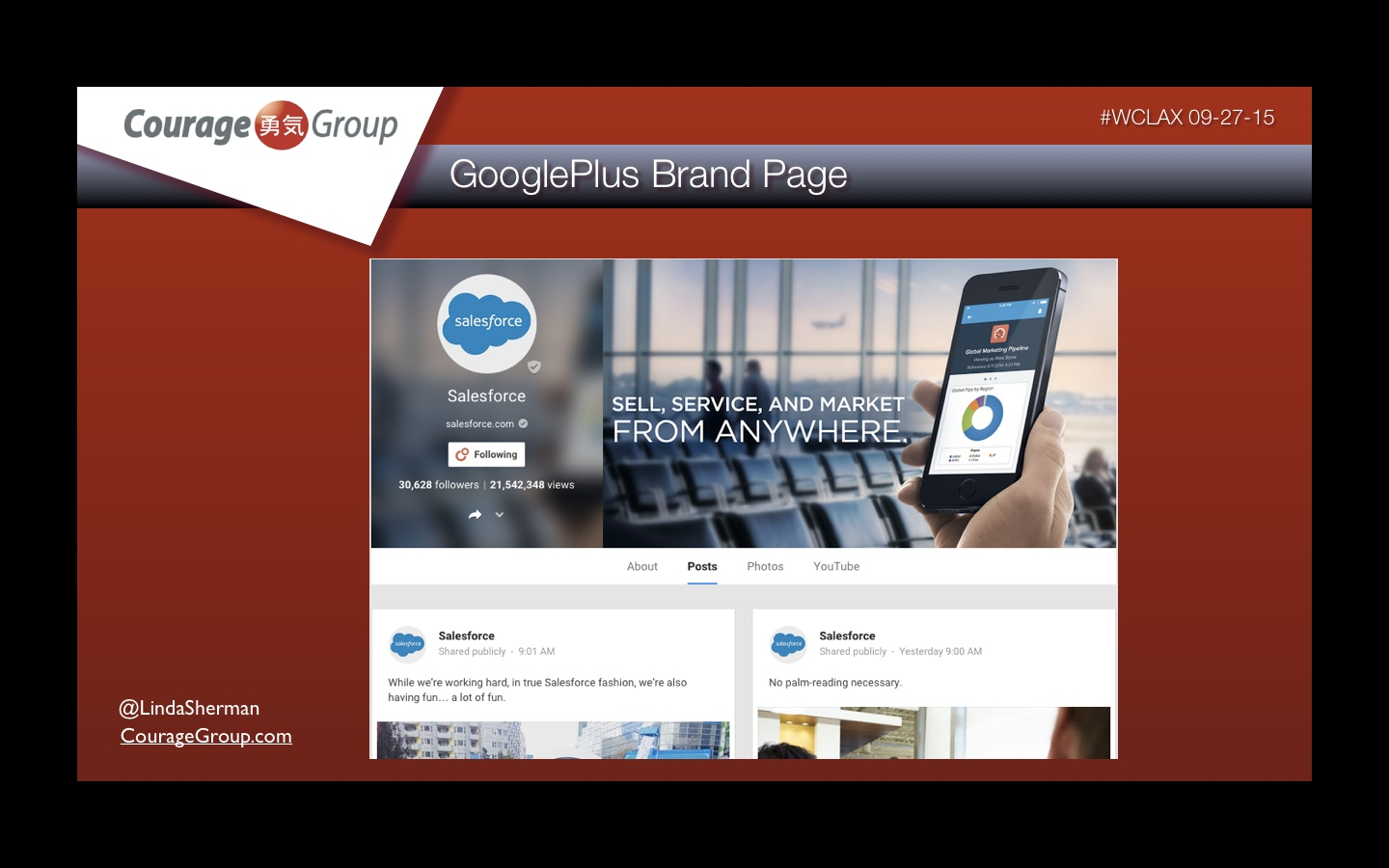 Google Plus Brand Page from Linda Sherman Presentation