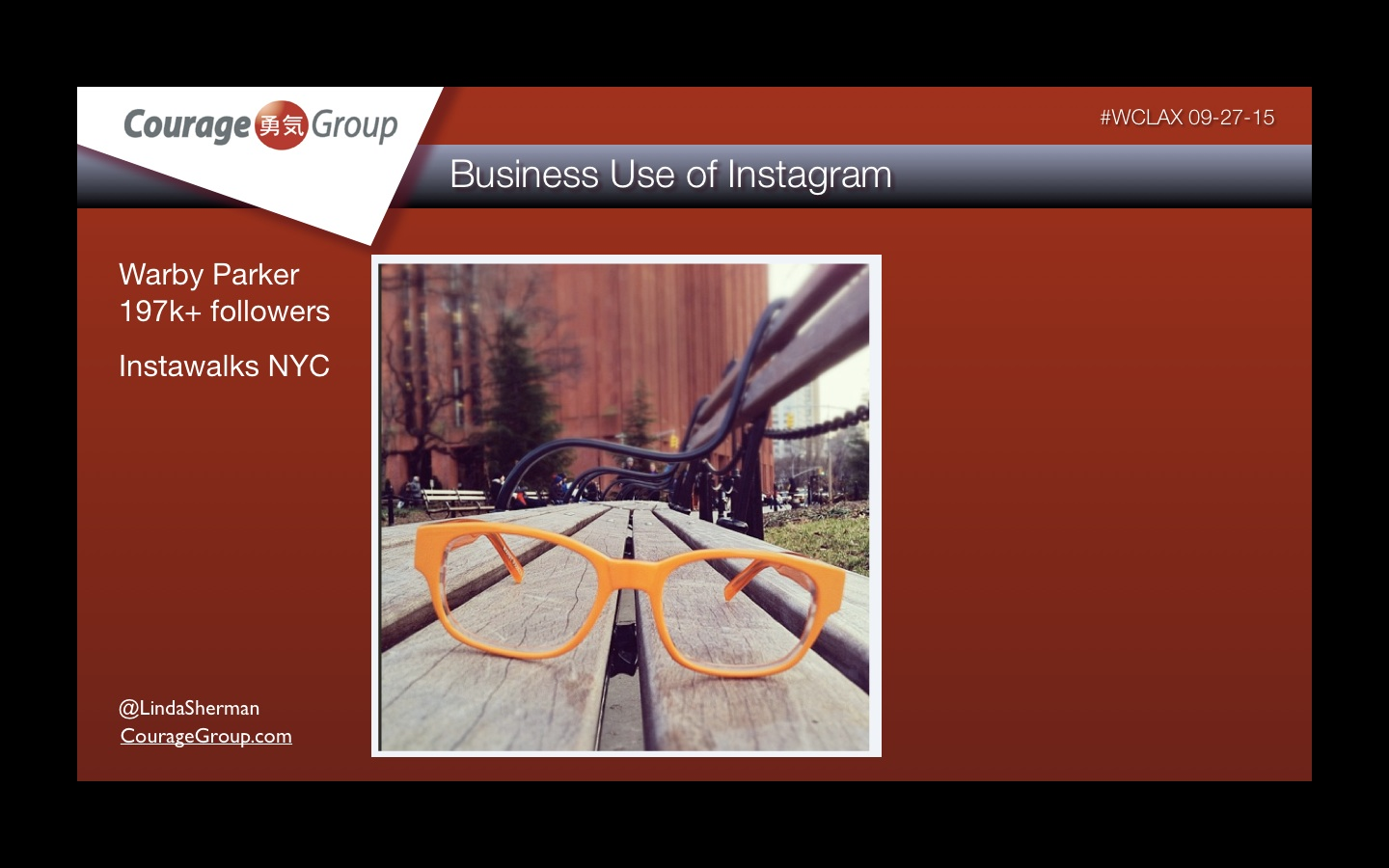 Business use of Instagram Warby Parker presentation by Linda Sherman