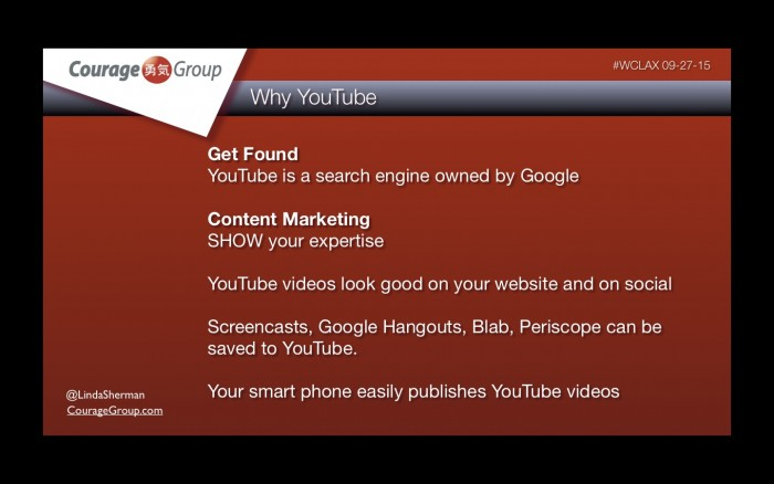 Why YouTube Linda Sherman Presentation WCLAX