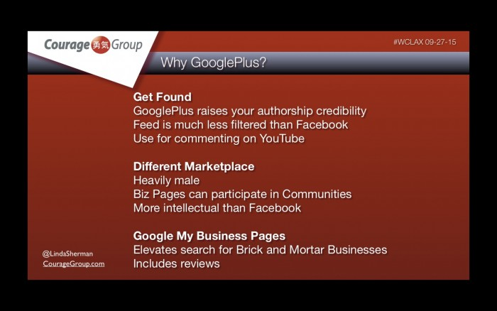 Why GooglePlus Linda Sherman Presentation