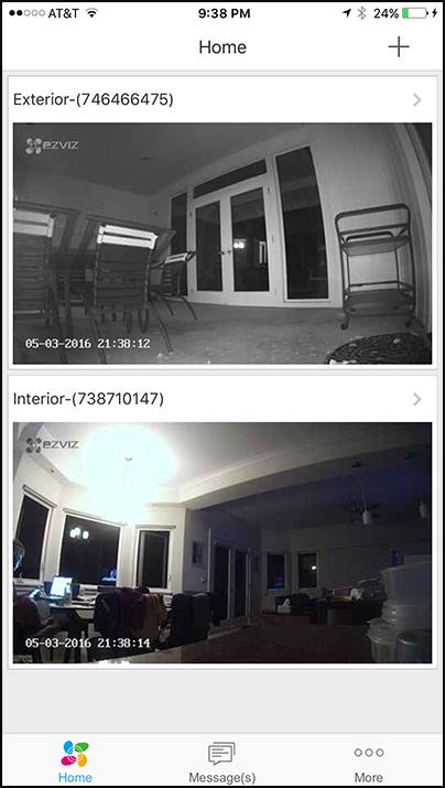 The EZVIZ home screen displays live feeds from each camera.