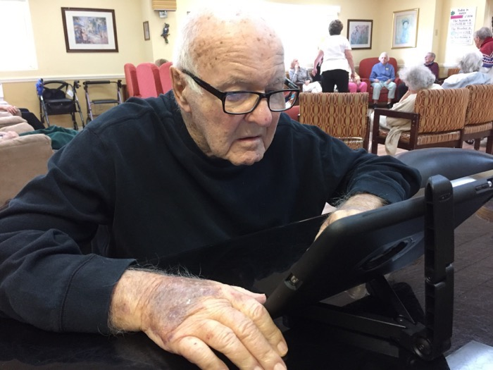 Arkon folding tablet stand elderly iPad use