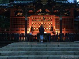 Linda Sherman spiritual moment at neighborhood Japanese temple