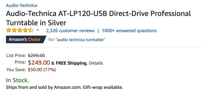 Amazon Choice for Audio Technica AT-LP120 USB Turntable