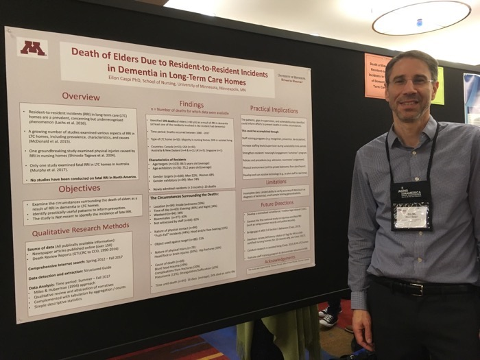 Eilon Caspi with Poster at Aging in America 2018 conference