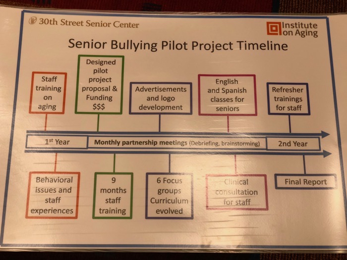 Pilot Project Timetable shown during the Senior Bullying AiA18 presentation
