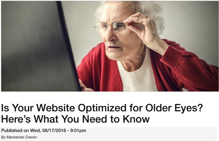 Mackenzie Craven optimize website for older eyes